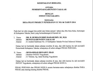 Nota kesepahaman antara Infest dan Pemerintah Kabupaten Takalar.